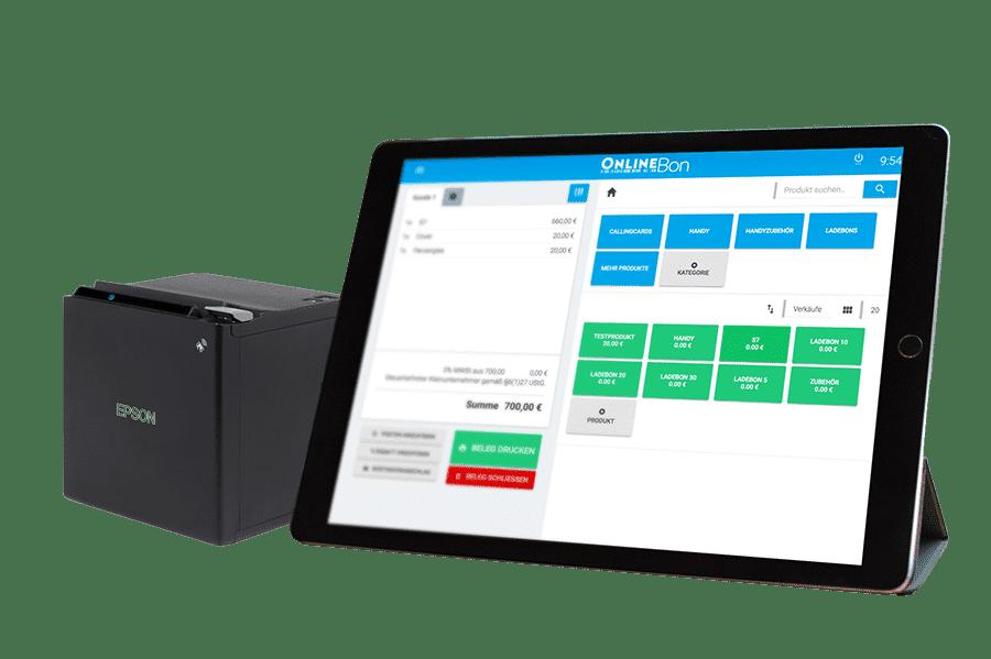 Registrierkasse auf einem Tablet mit Bondrucker