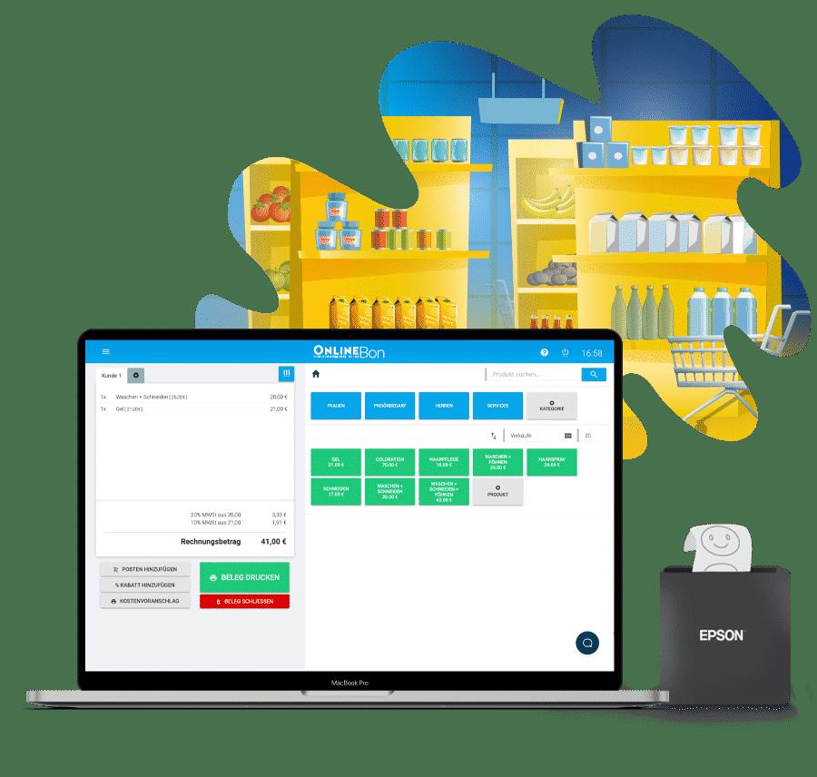 Registrierkasse mit Bondrucker im Geschäft